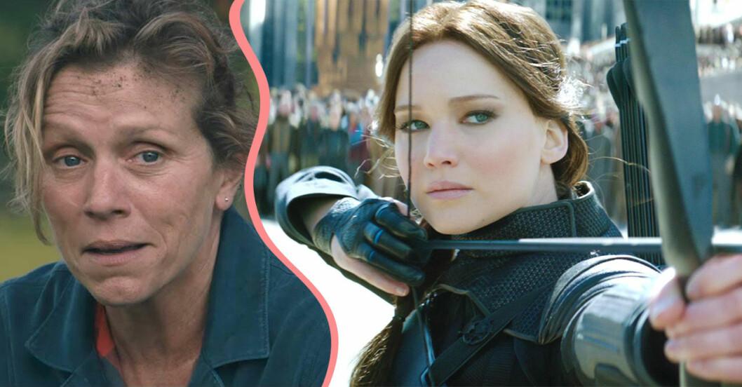 Två filmer med kvinnliga huvudroller: Hunger Games och Three Billboards Outside Ebbing Missouri.