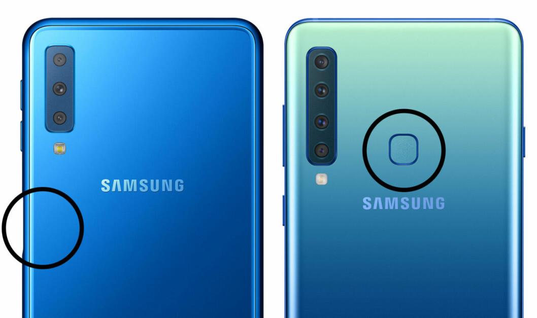 Fingeravtrycksläsaren på Samsung A7 och A9 är lite olika placerade.