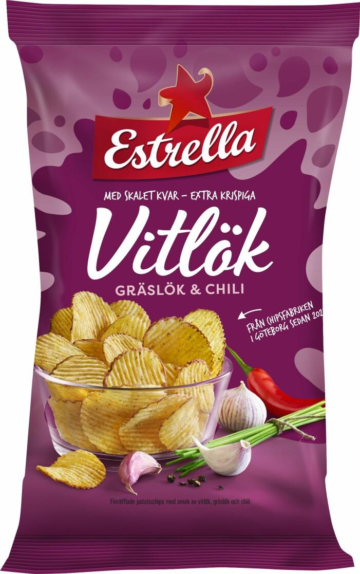 Finräfflade chips med smak av vitlök, gräslök & chili från estrella