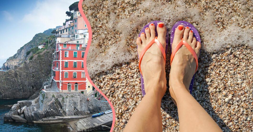 Flipflop förbjuds i Cinque Terre i Italien.