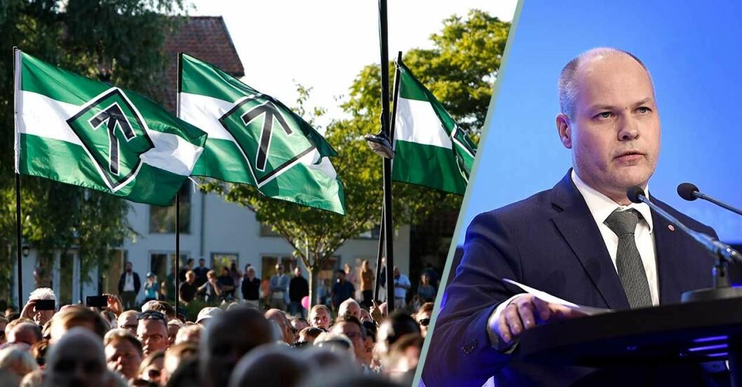 nordiska motståndsrörelsens flaggor och morgan johansson