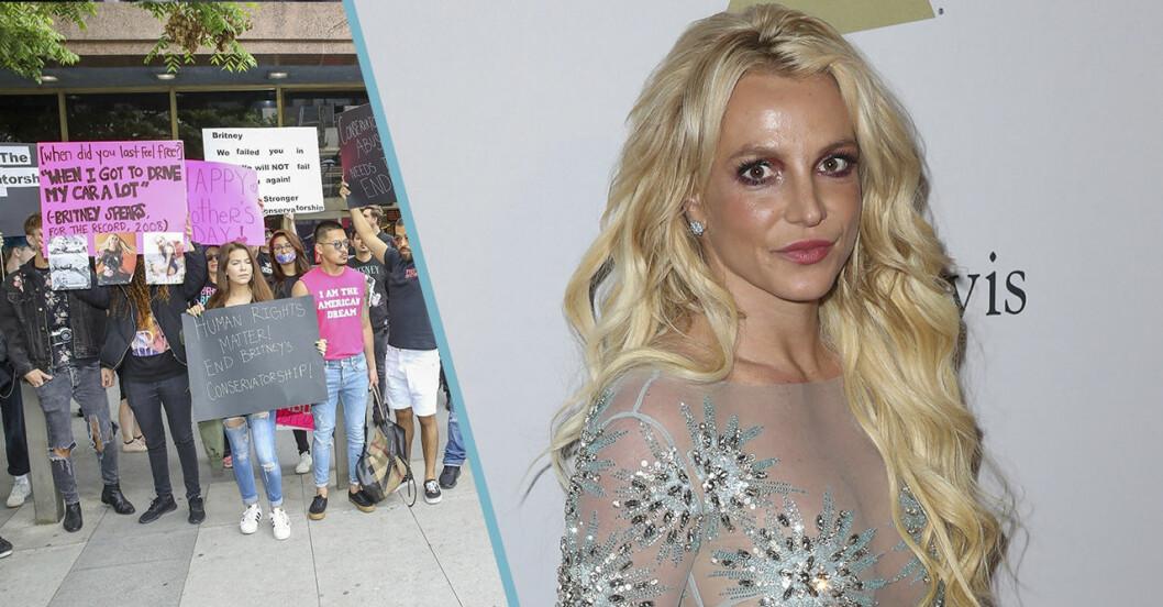 Britney Spears och folk som protesterar