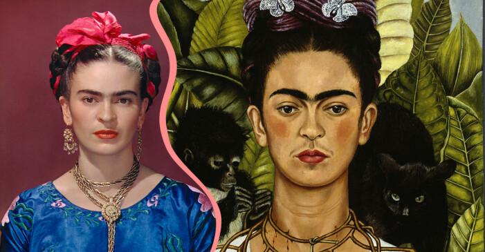 Frida Kahlo på foto och i ett självporträtt med apor.