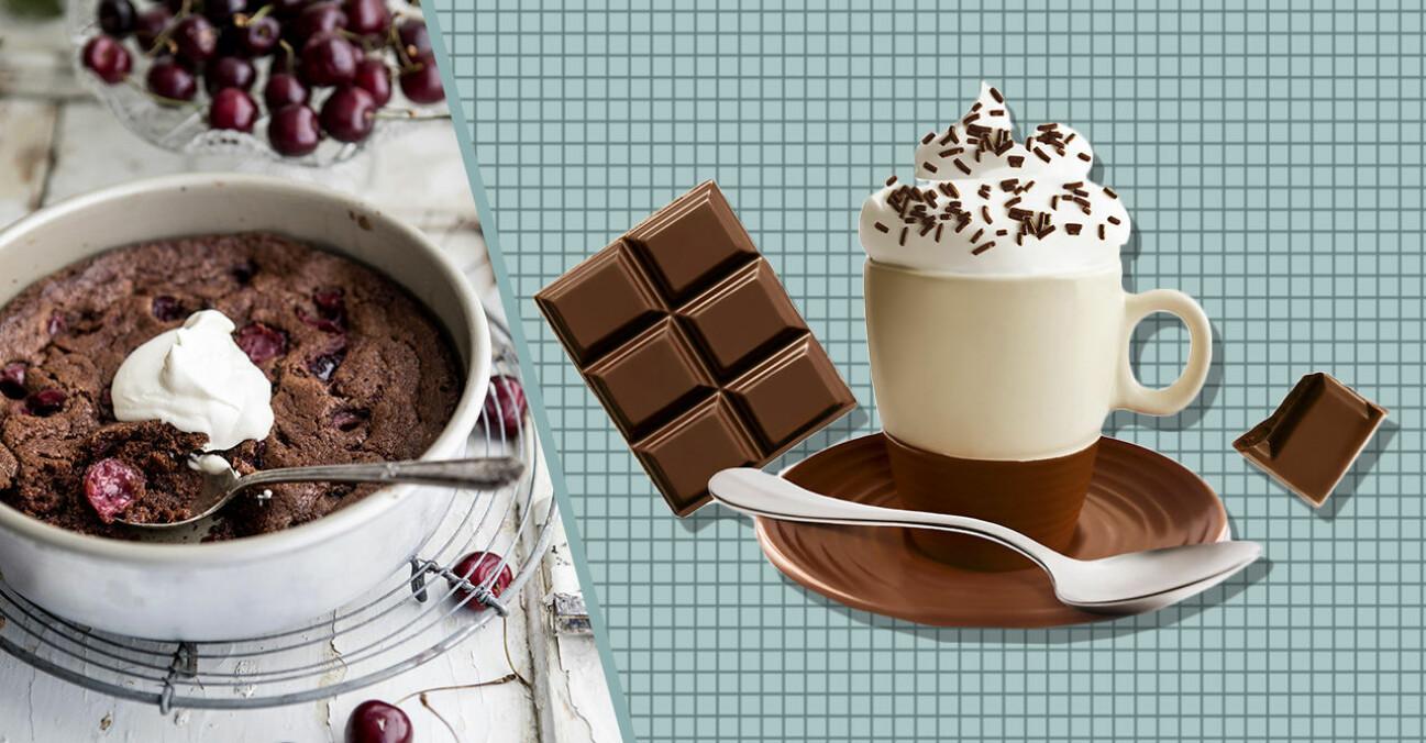 Frukost choklad kopp kaffe chokladkaka