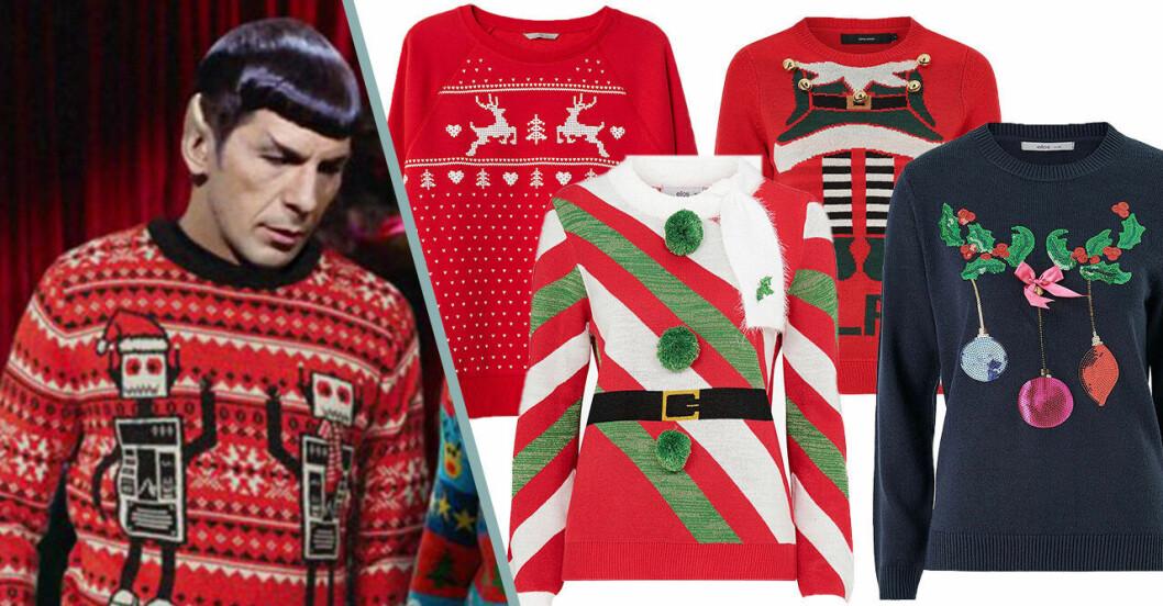 Spock i Star Trek bär ful jultröja.
