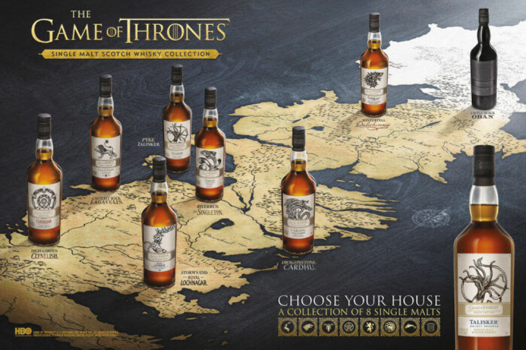 Karta över vilka destillerier flaskorna kommer från.