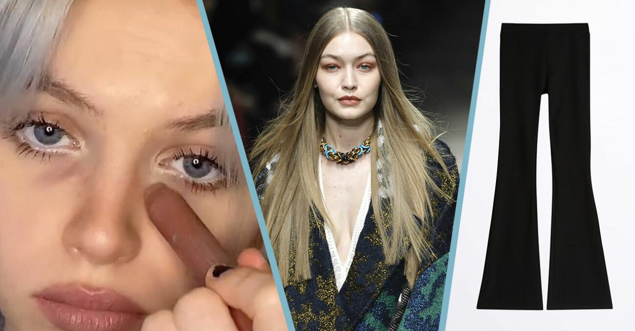 tjej som målar mörka ringar under ögonen, Gigi Hadid i mittbena, jazzbyxor