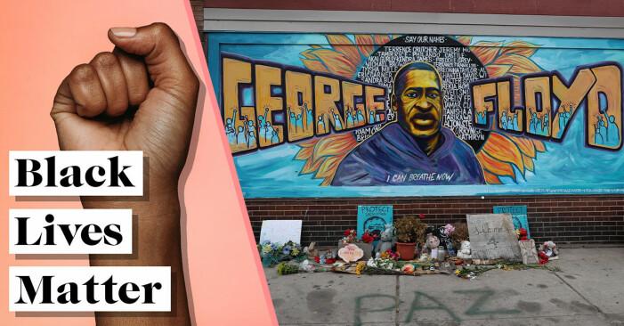 Black lives matter-symbol och en graffiti på George Floyd.