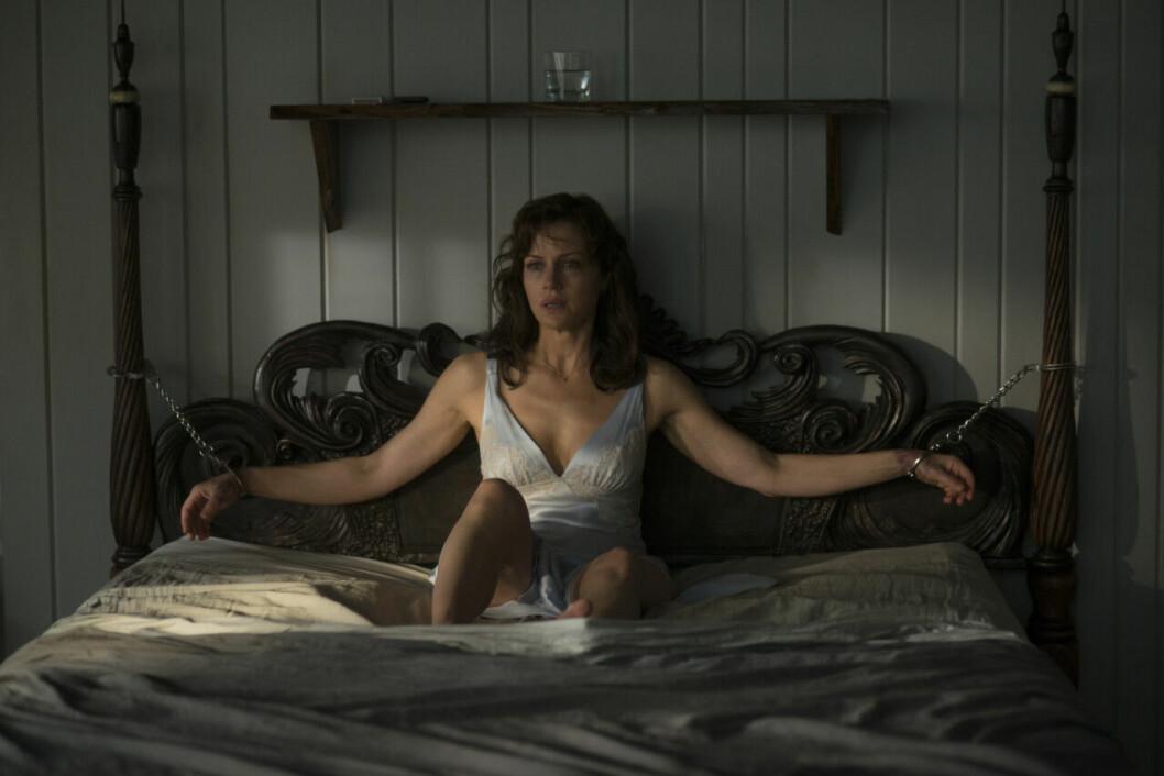 En bild från skräckfilmen Geralds Lek, som finns på Netlix.