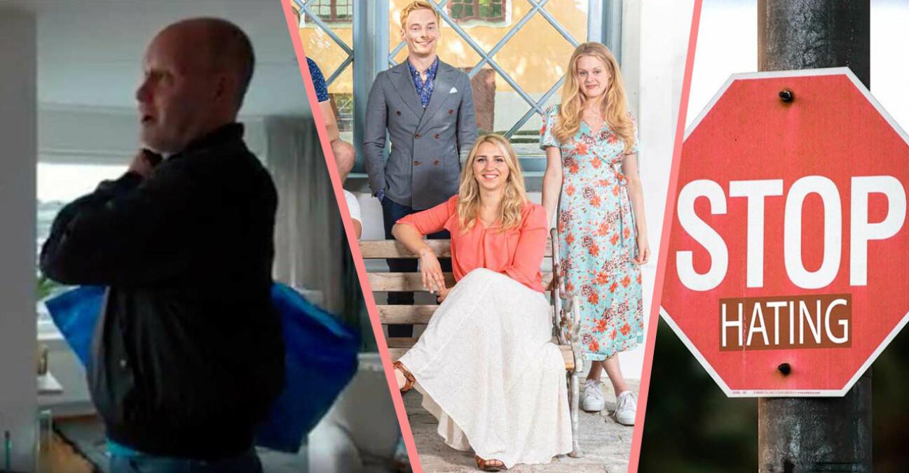 gift vid första ögonkastet säsong 7, Per Rydergård med en blå ikeapåse och en röd stoppskylt
