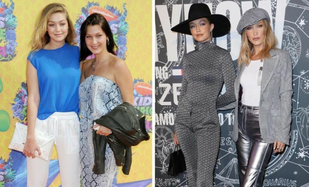 Gigi Hadid och Bella Hadid som tonåringar