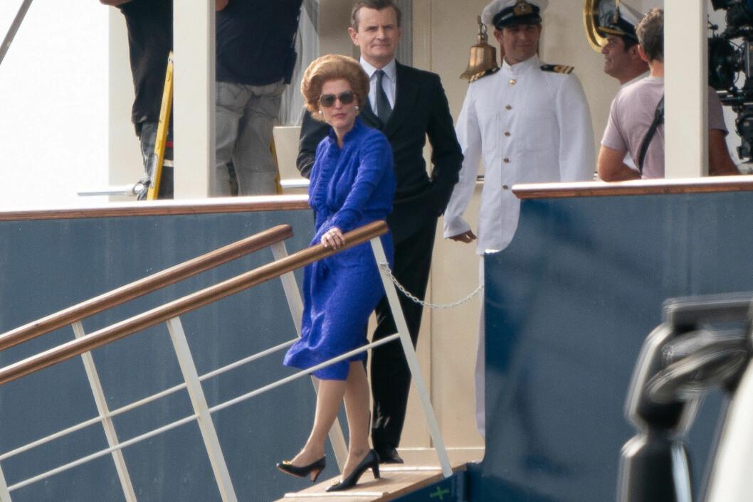Gillian Anderson i rollen som Margaret Thatcher i säsong 4 av The Crown.