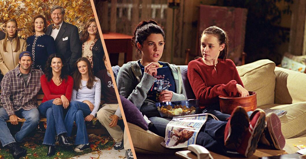 Gänget i Gilmore Girls och Lorelai och Rory i soffan