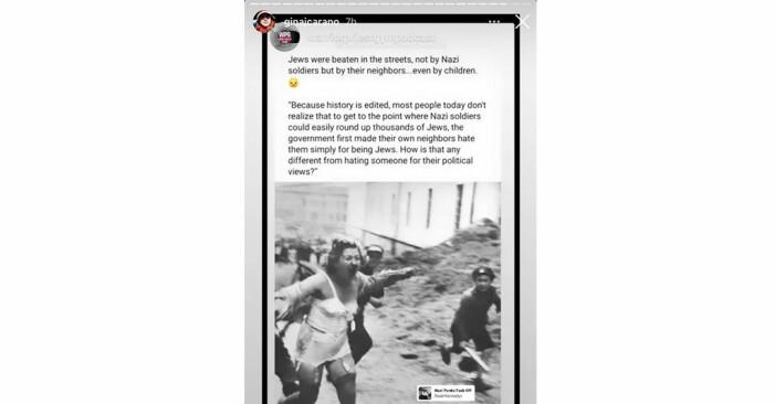 Gina Caramo jämförde att vara republikan med pogromerna mot judar i Nazityskland