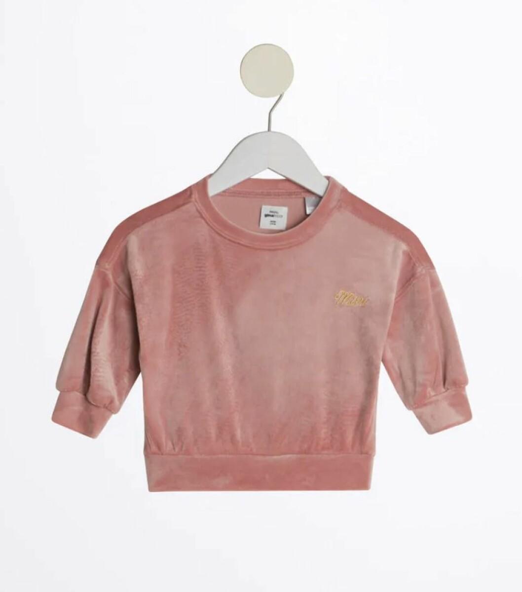 Gina tricot mini – rosa sammetströja för barn