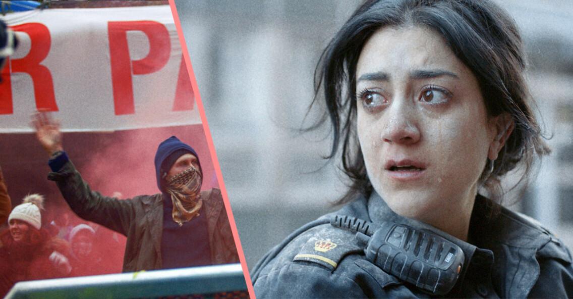 Gizem Erdogan som Leah i Tunna blå linjen avsnitt 7.