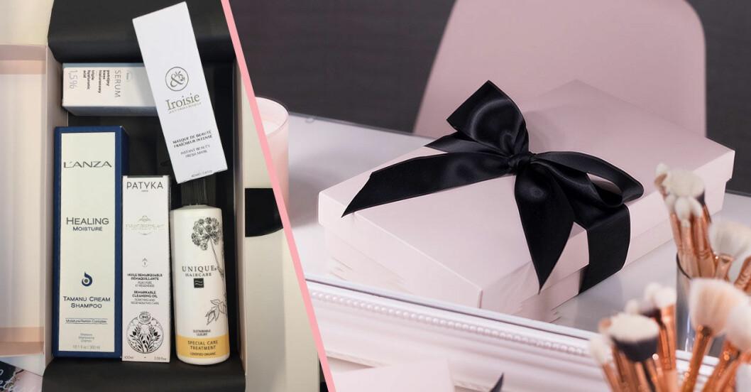 skönhetsprodukter och rosa låda