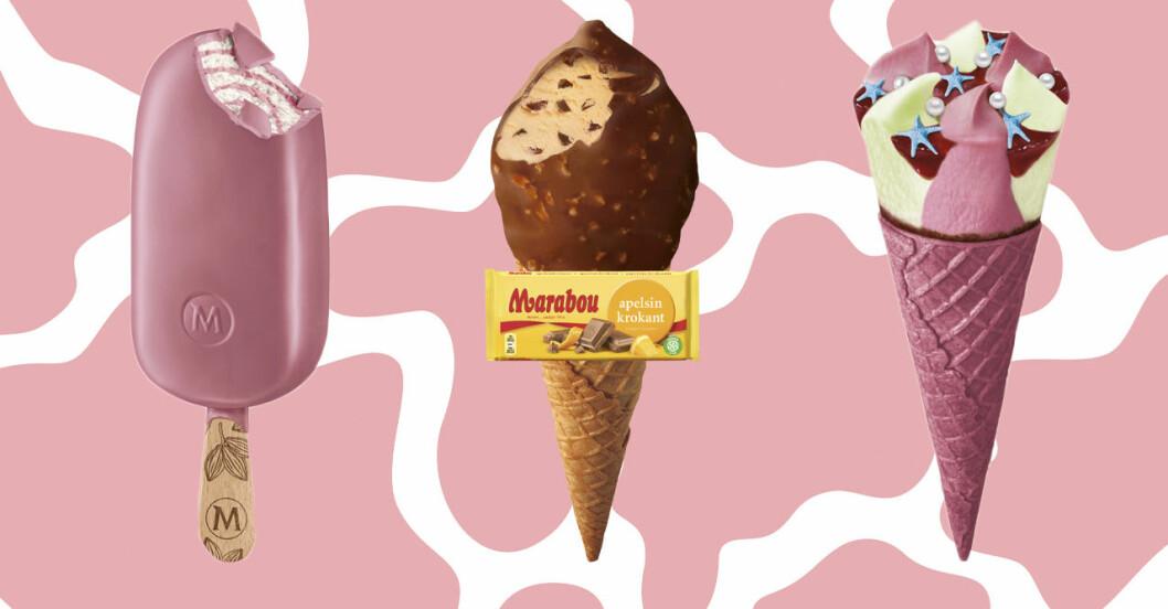 rosa glass, mermaid glass och marabou apelsinkrokant glass