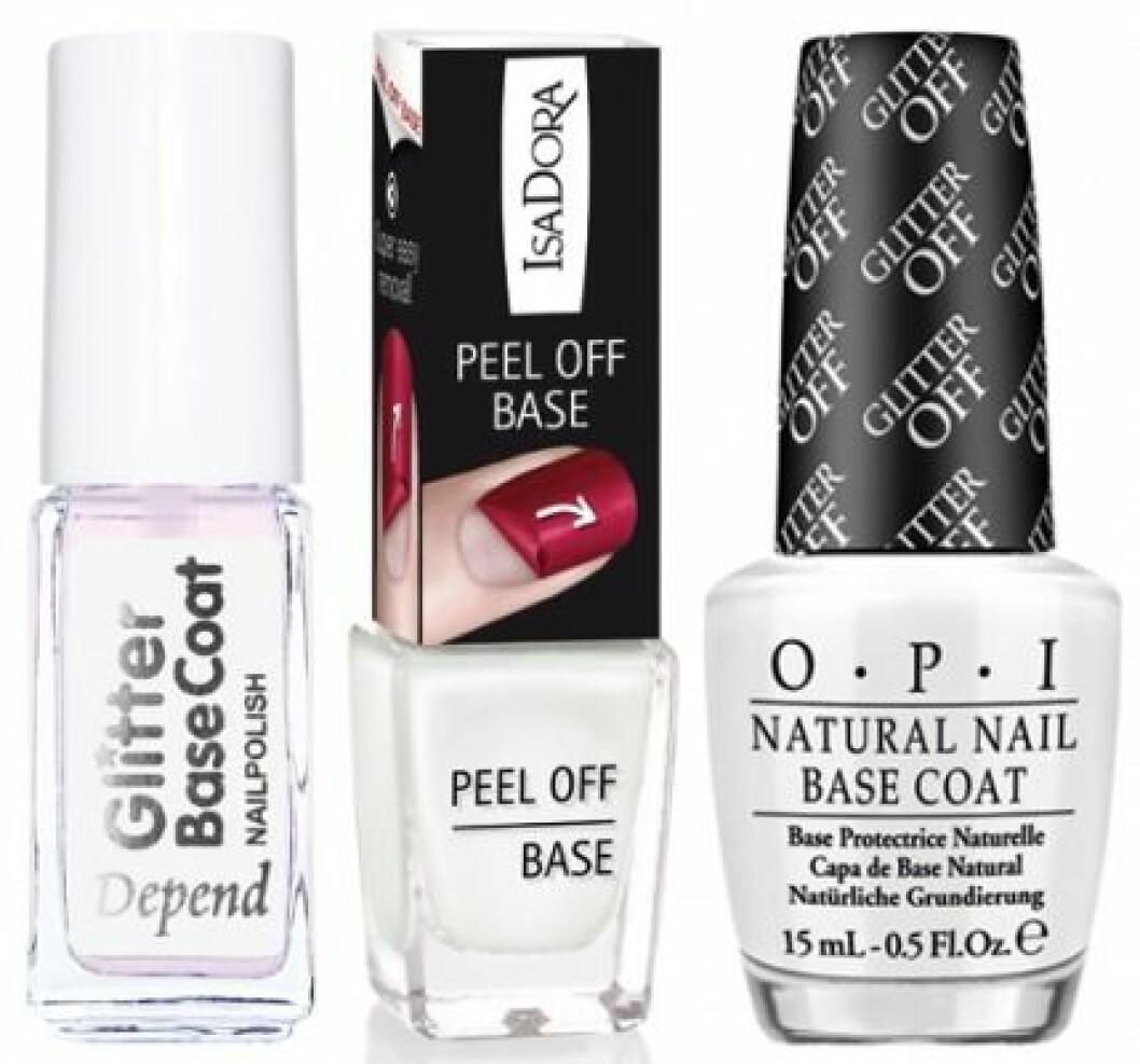 glitter-base-coat-peal-offBaslack för nagellack med glitter från Depend, IsaDora och OPI.