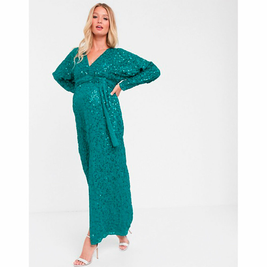 Glittrig grön gravidklänning