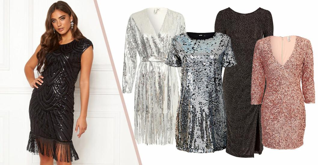 Klänningar med glitter och paljetter till nyår