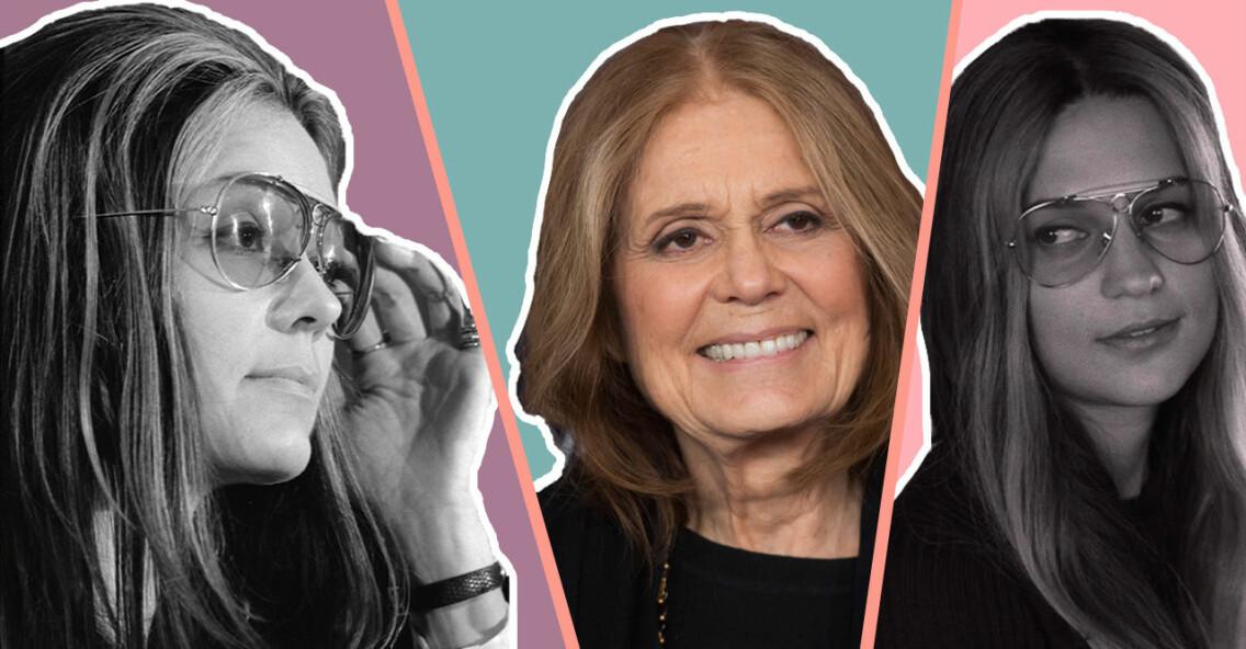 Gloria Steinem och Alicia Vikander som Gloria Steinem i filmen The Glorias.