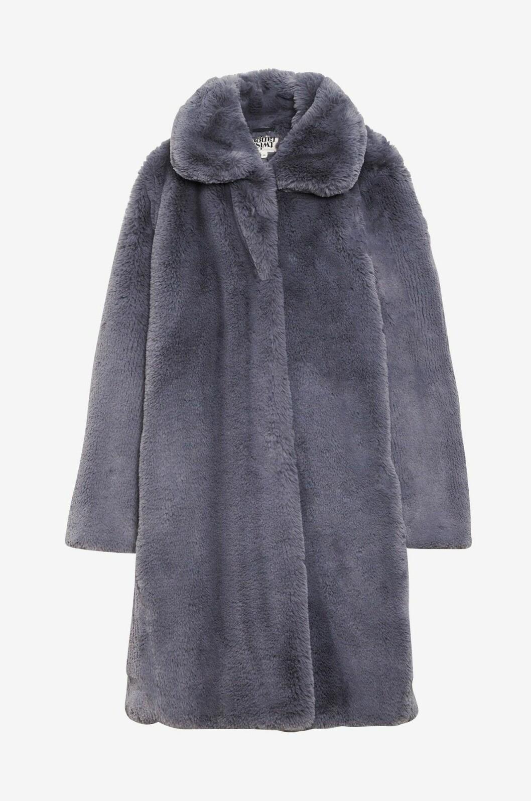 Gråblå kappa i fuskpäls för dam till 2019