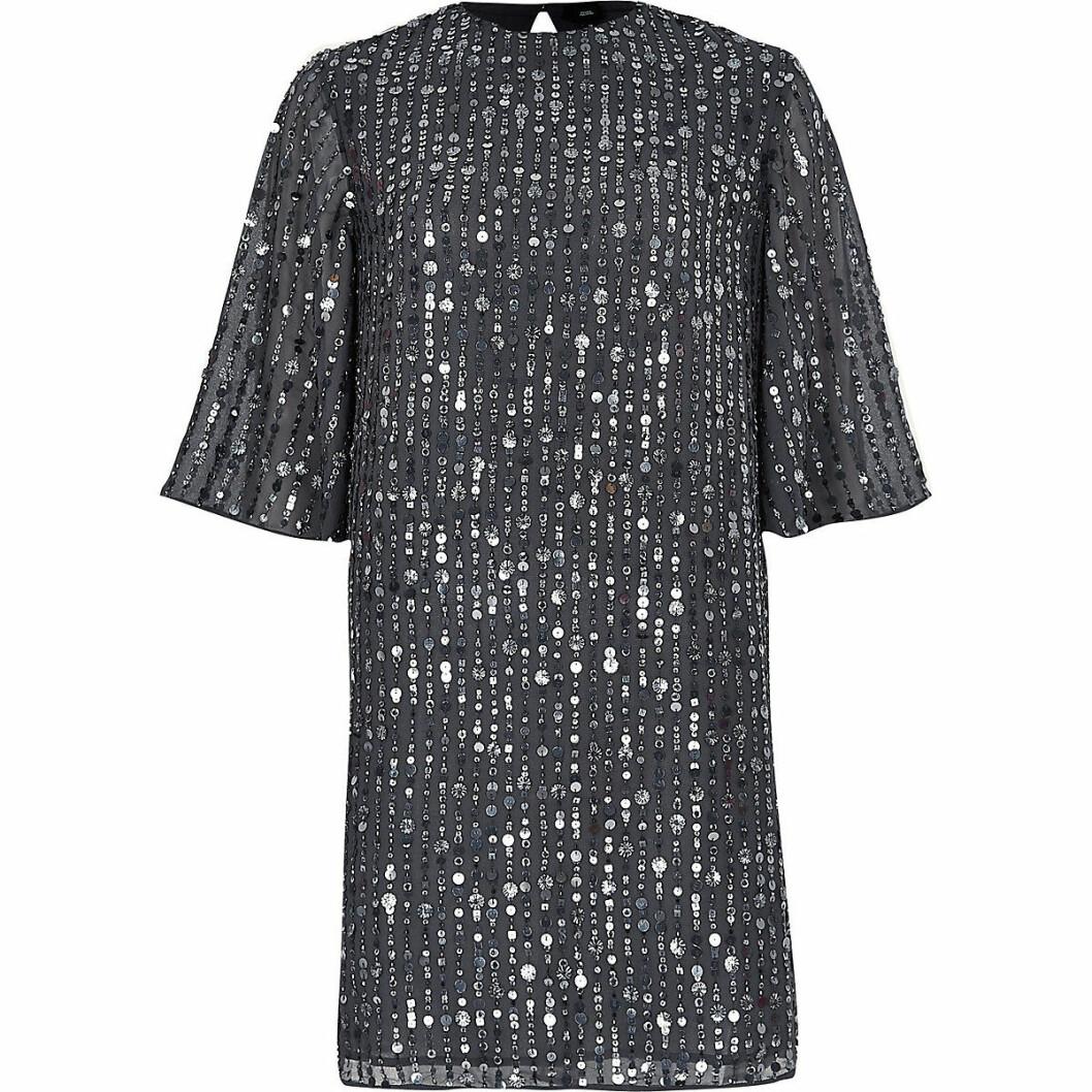 Grå paljettklänning till nyår