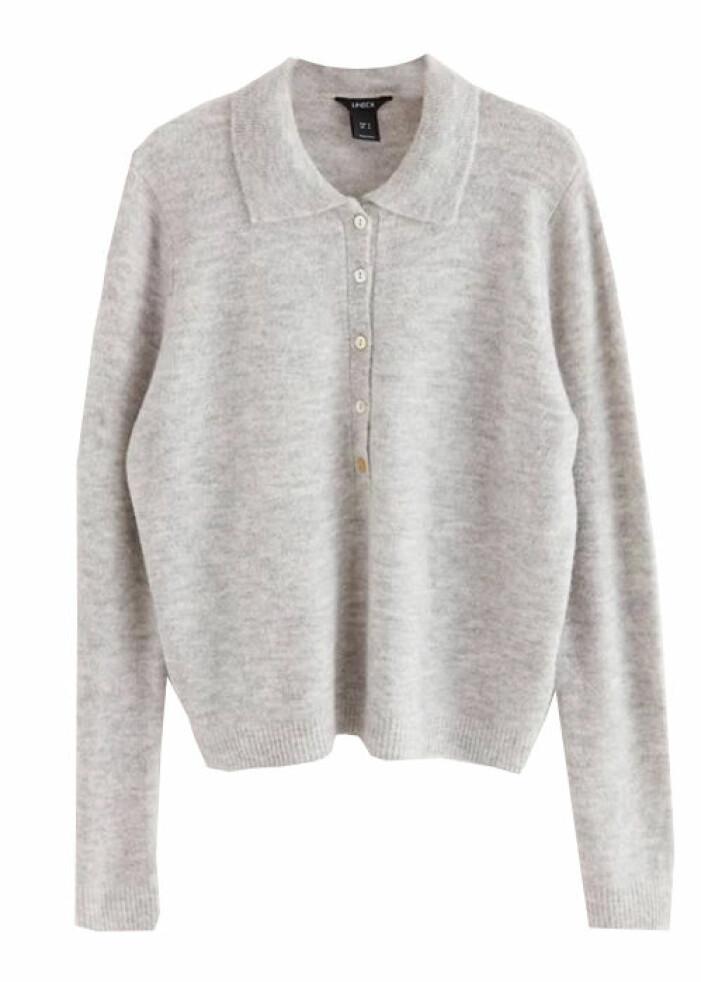 grå stickad skjorta
