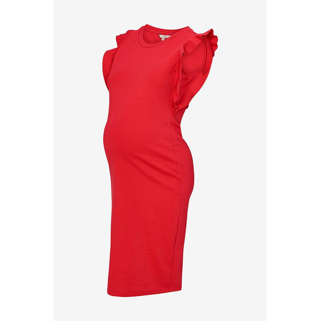 Röd gravidklänning med volanger