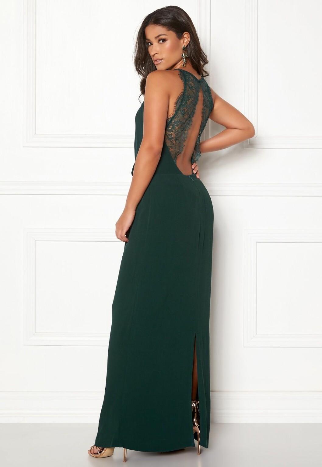 Grön balklänning med spets i ryggen