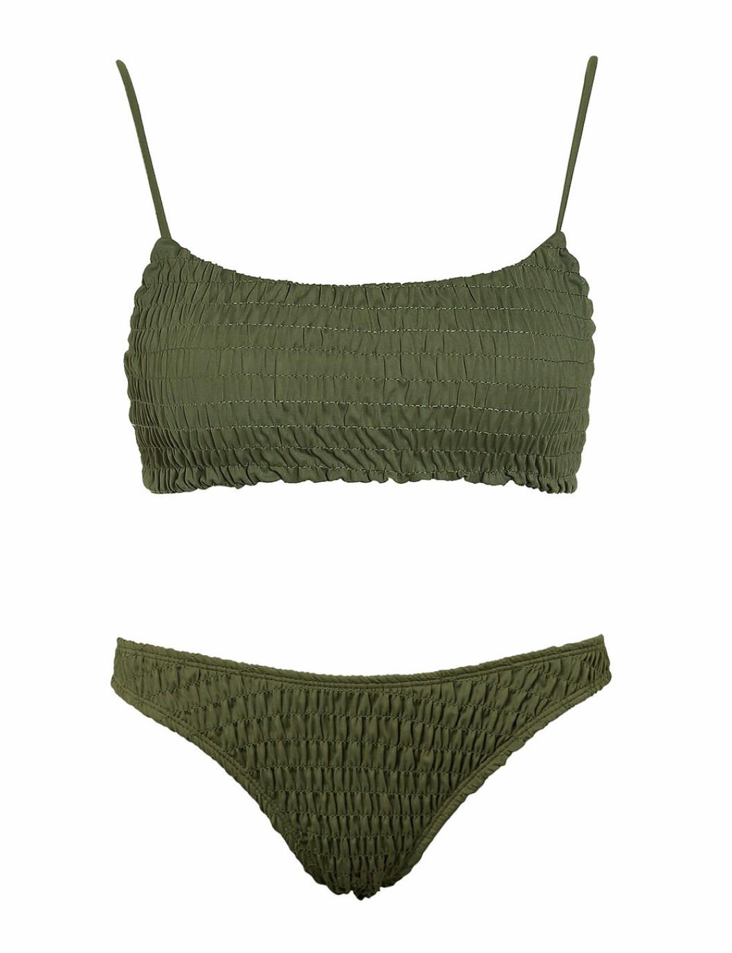 Grön bikini med smock och tunna band för dam till 2020
