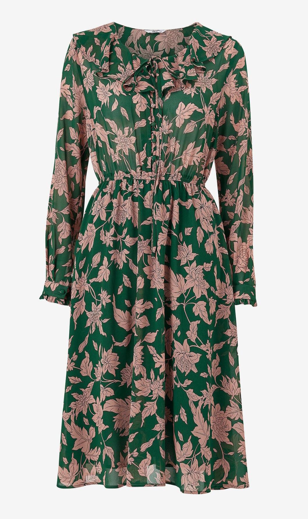 Grön blommig höstklänning för dam till 2019