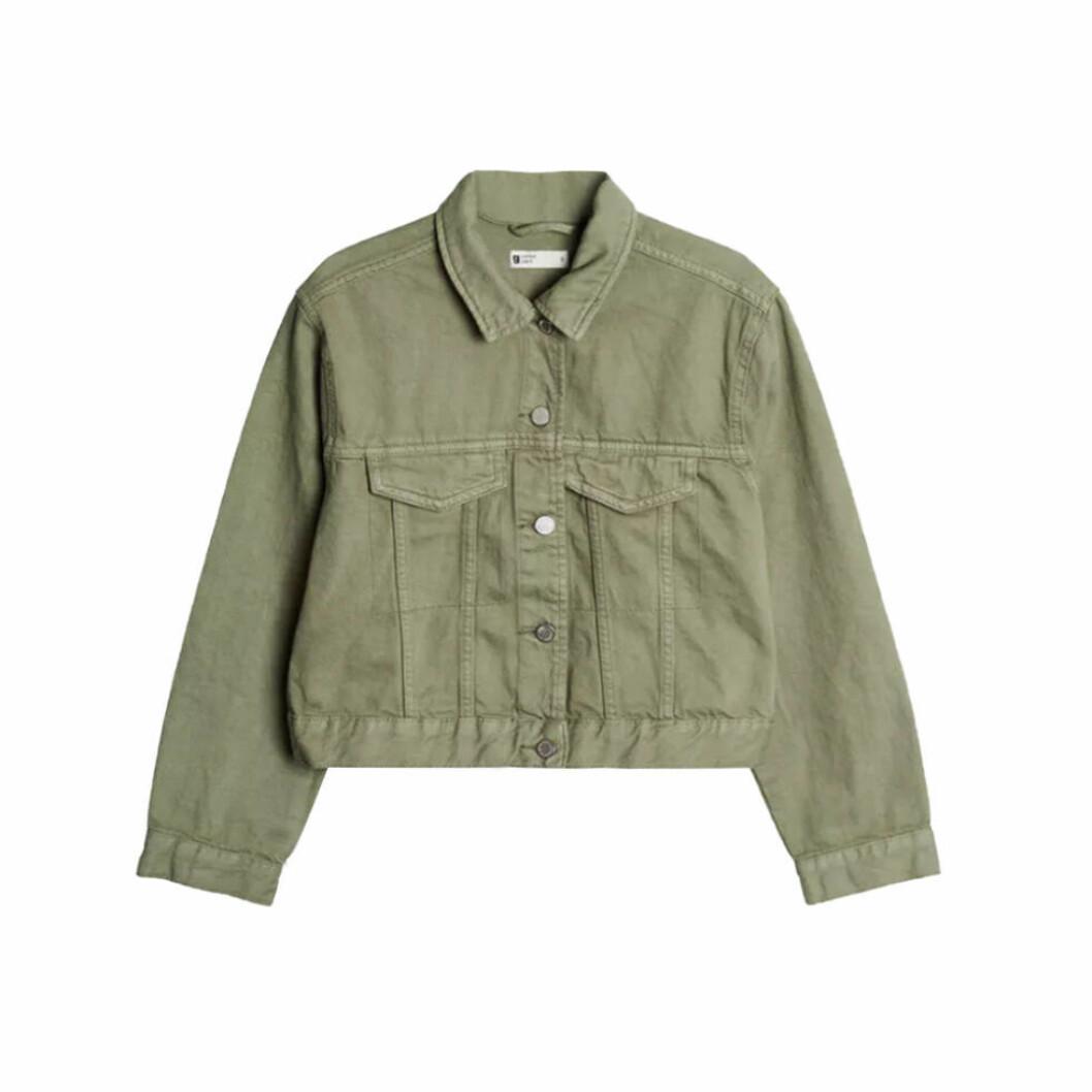 Grön jeansjacka i kort modell