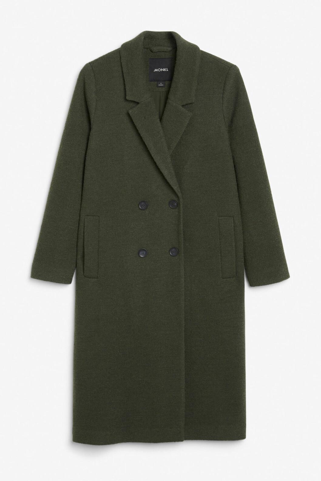 Grön billig kappa i lång modell för dam till 2019
