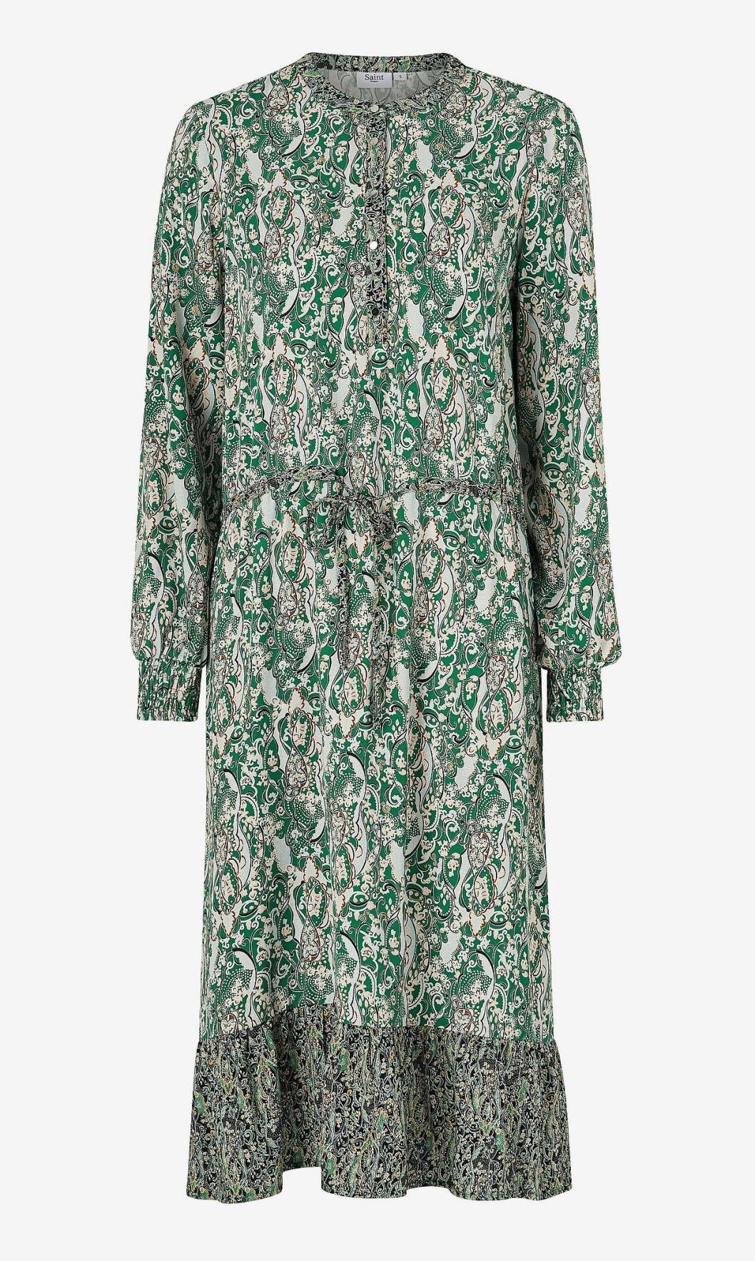 Grön höstklänning med lång ärm för dam