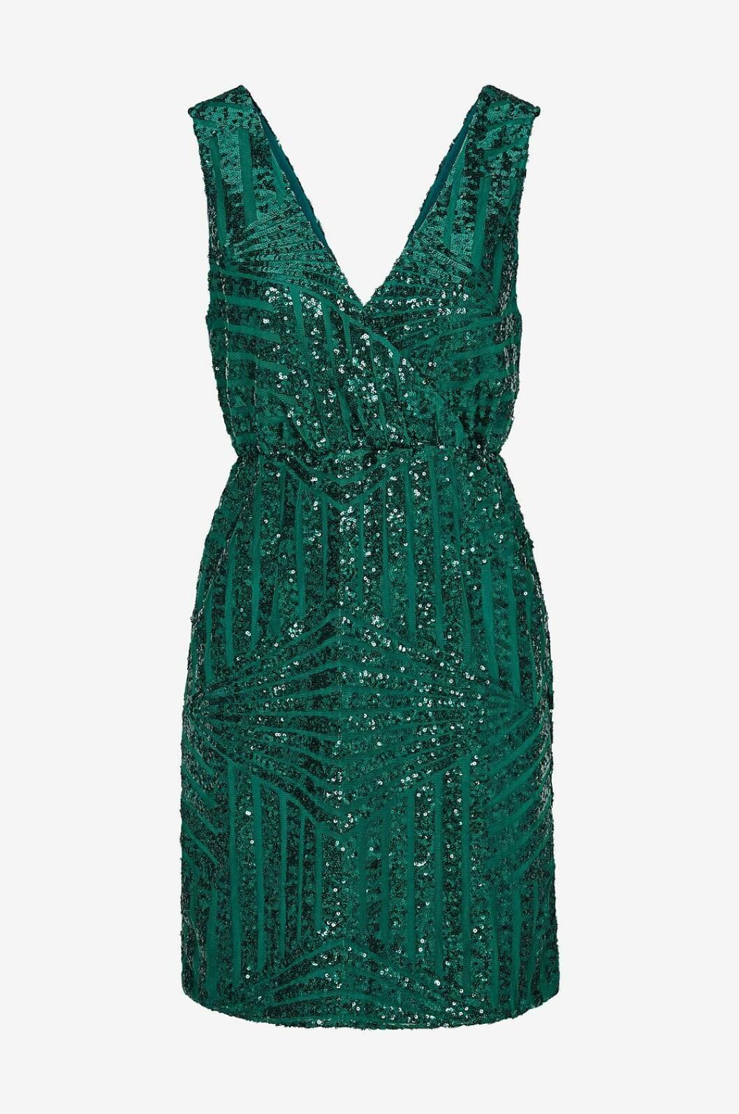 Grön ärmlös paljettklänning för dam till nyår 2019