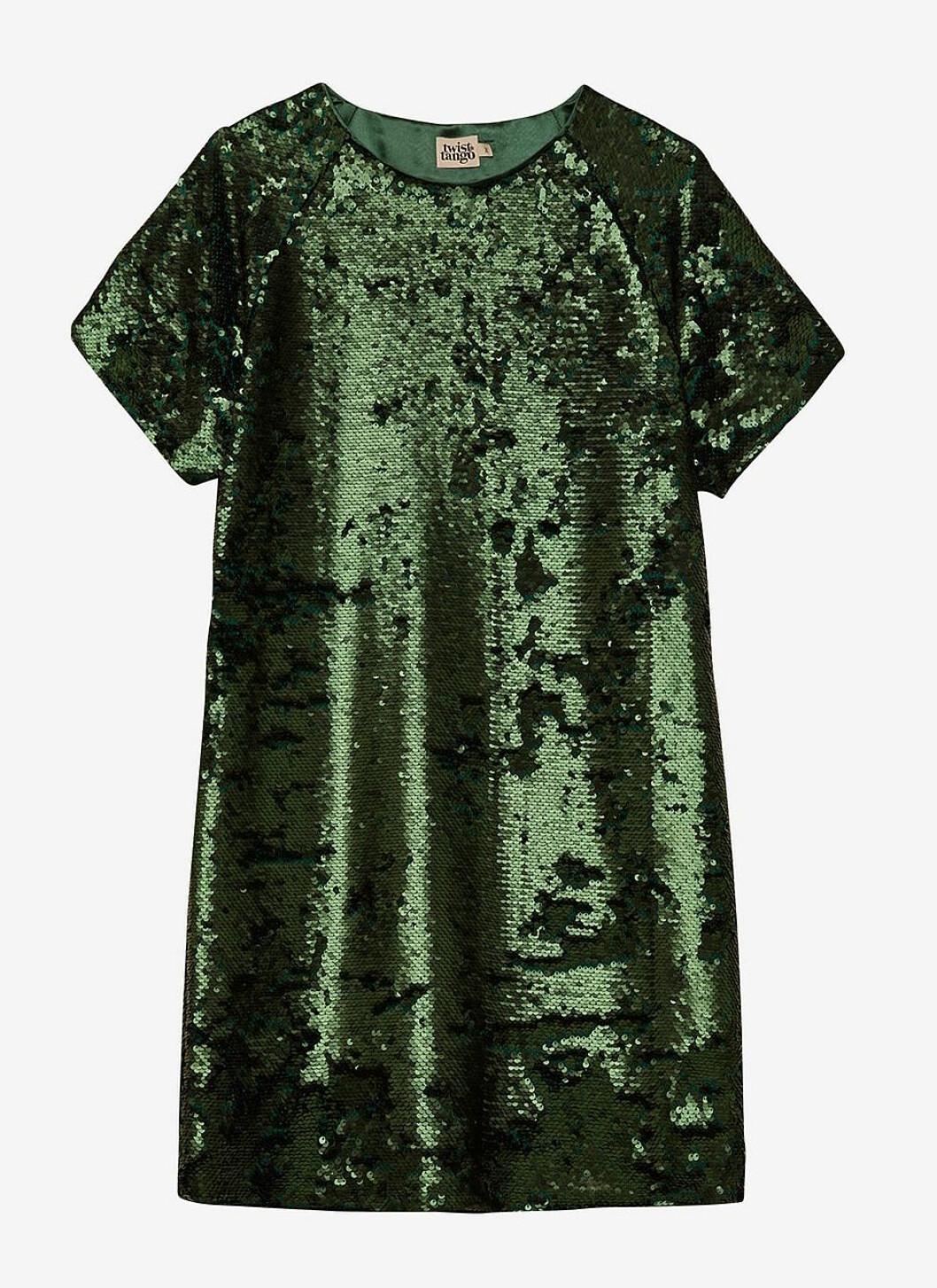 Grön paljettklänning med kort ärm
