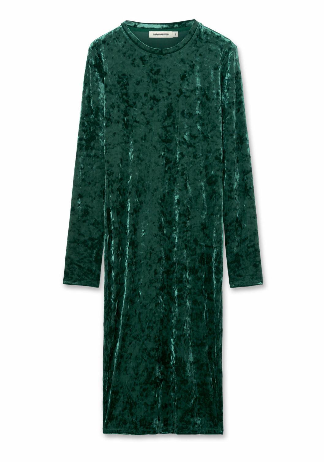 Grön sammetsklänning med lång ärm