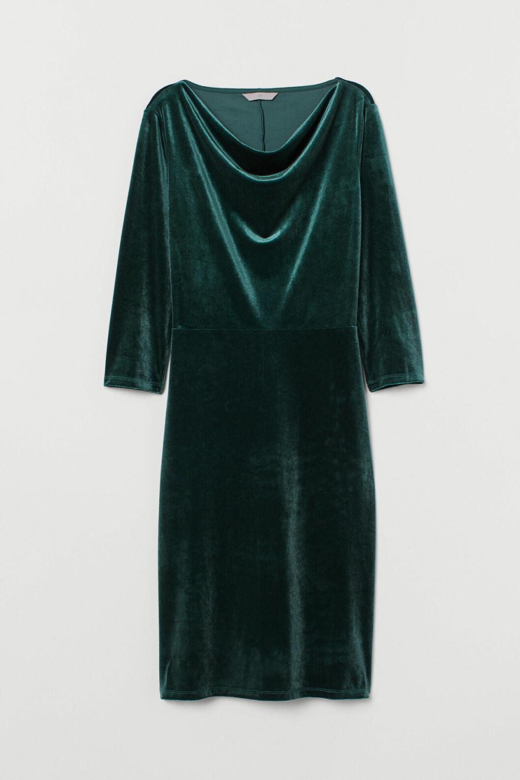 Grön sammetsklänning för dam till 2019