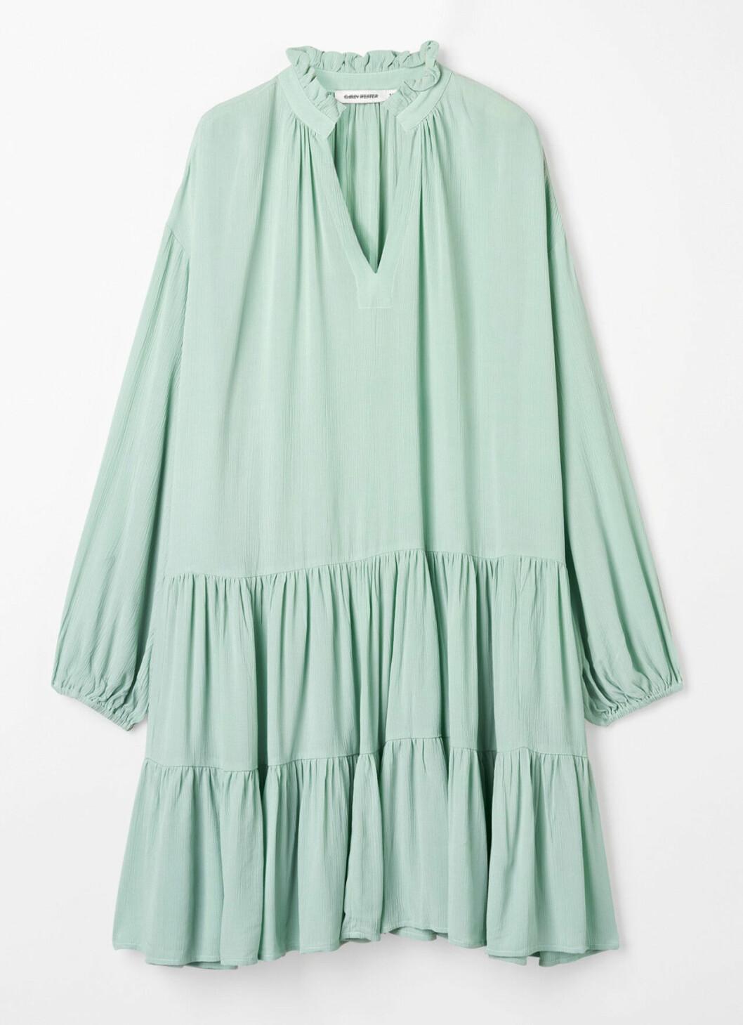 Grön klänning med volanger för dam till 2020