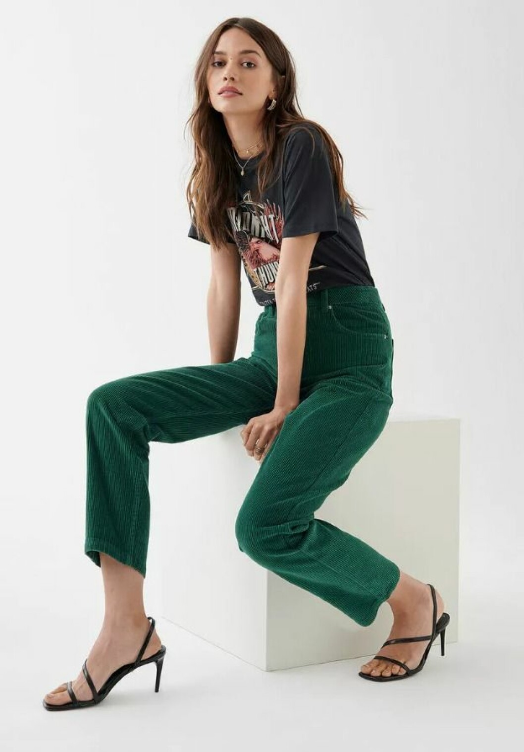 Gröna manchesterjeans från Gina tricot
