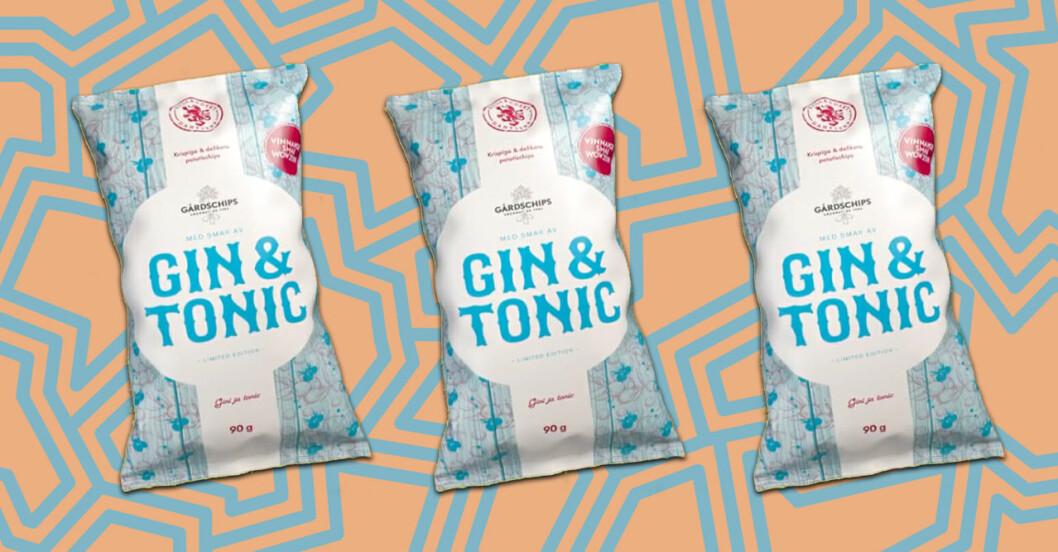 Tre chipspåsar med smak av Gin & tonic