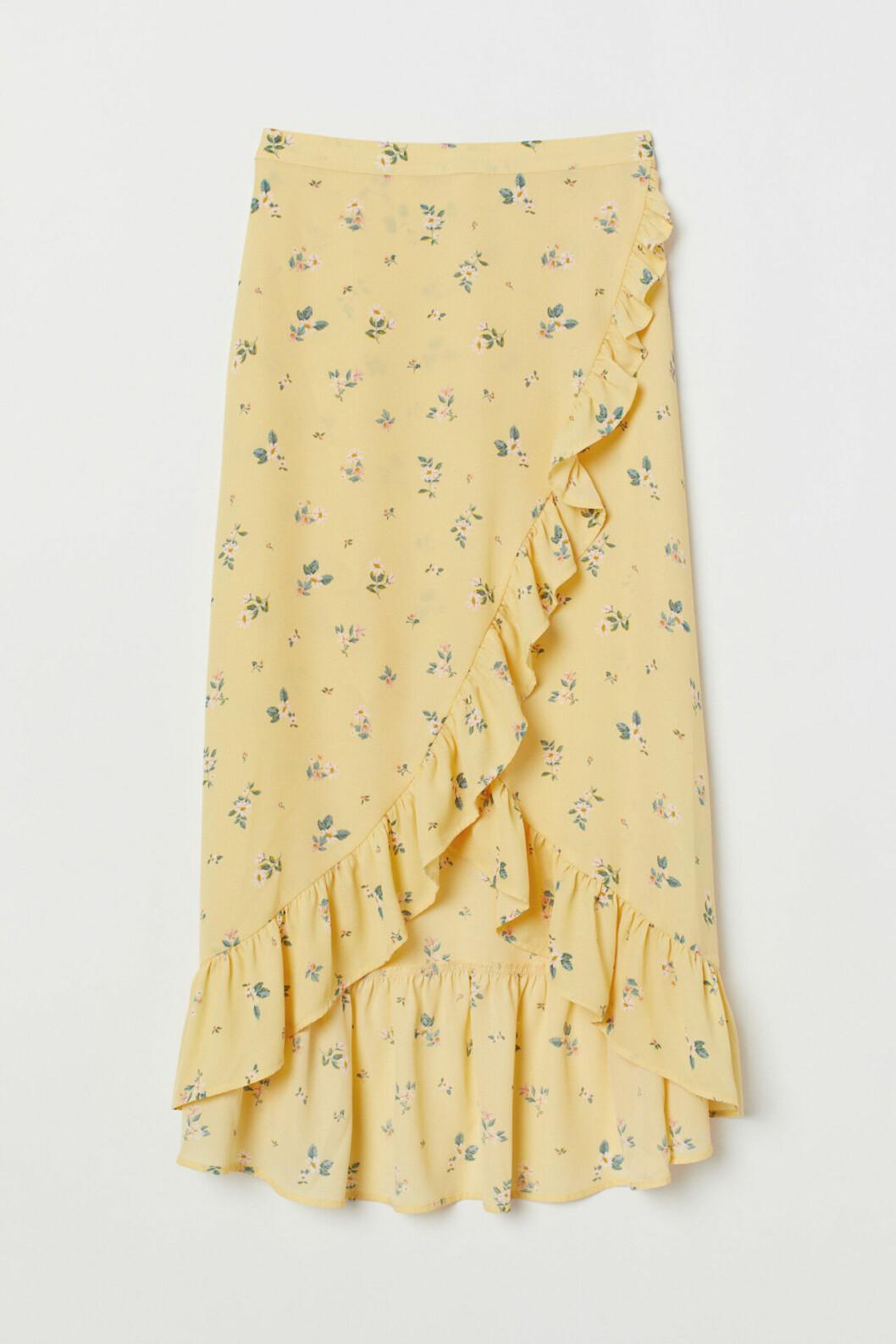 Gul blommig kjol till våren 2019