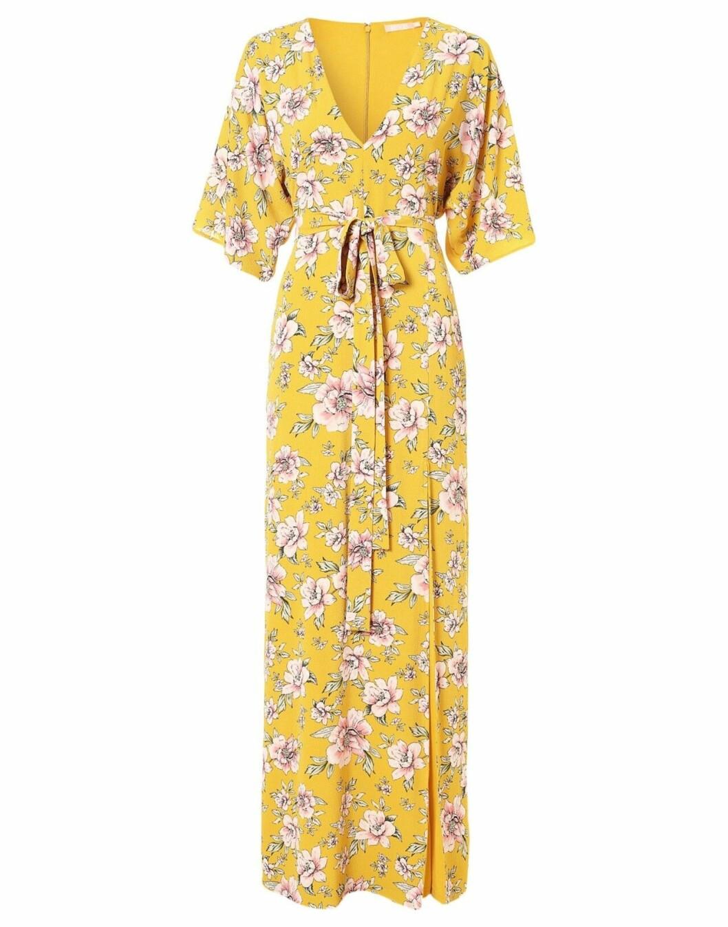 Gul klänning med blommor för dam till 2019