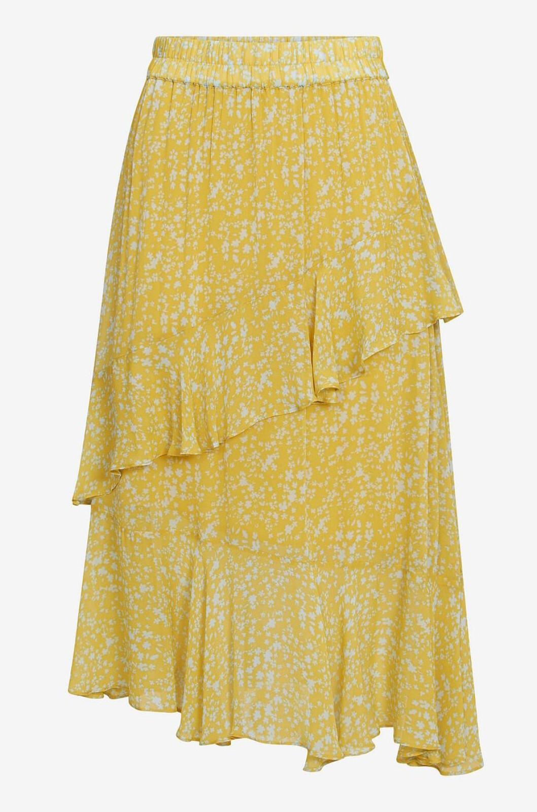 Gul blommig kjol med volanger till dam för 2019