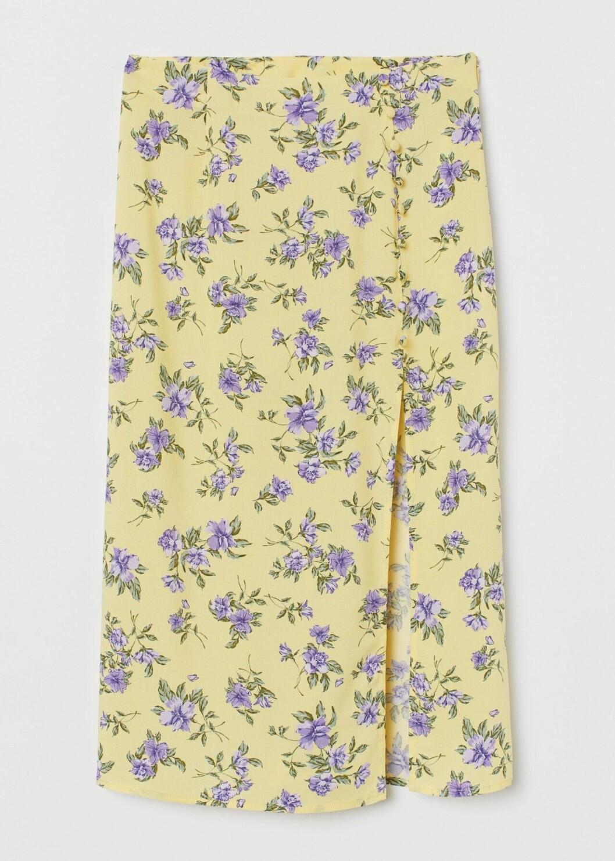 Gul kjol med blå blommor för dam till 2020