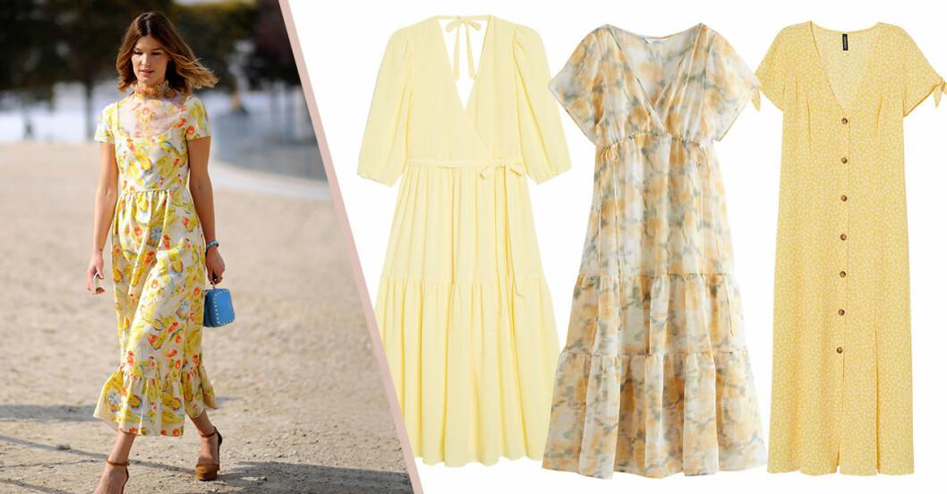 Gula klänningar för dam till sommaren 2020