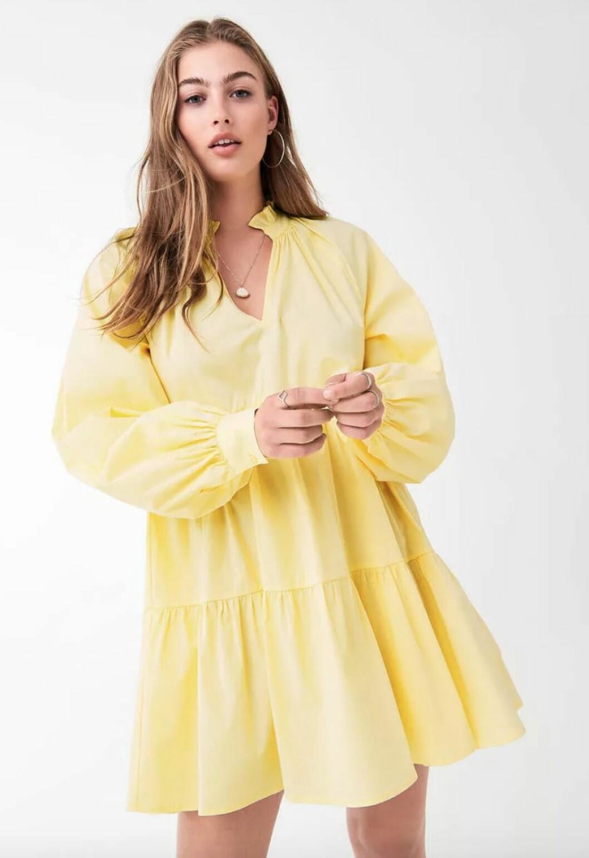 Gul klänning med volanger 2019