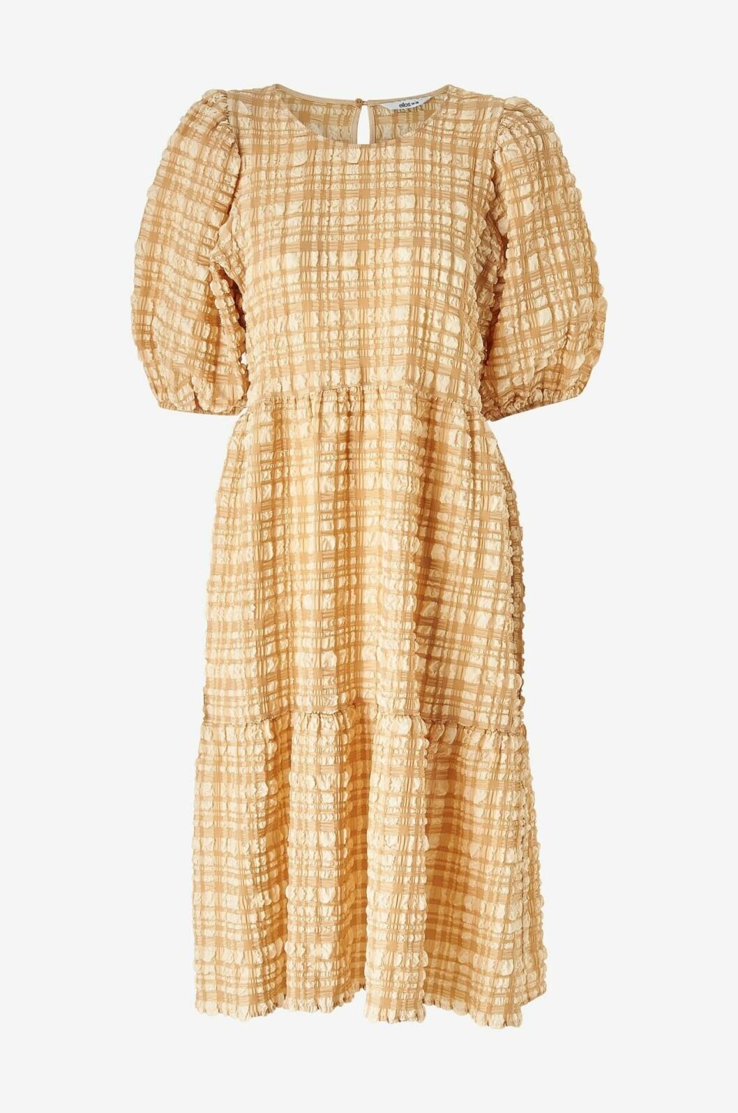 Gul rutig klänning med puffärm för dam till 2020